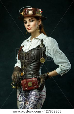 Portrait Of A Beautiful Steampunk Girl