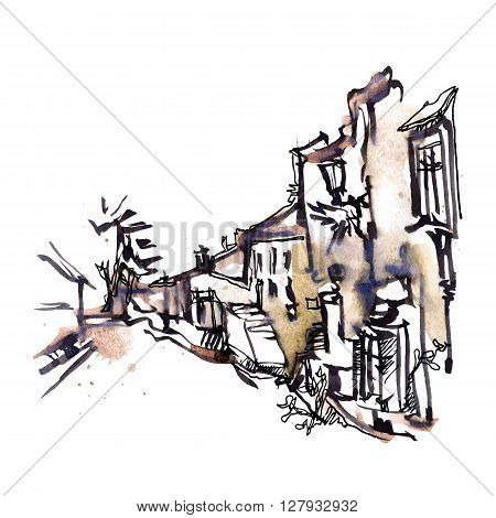 Hand drawn sketch of old street. Waterctolor painting. Vector illustration.