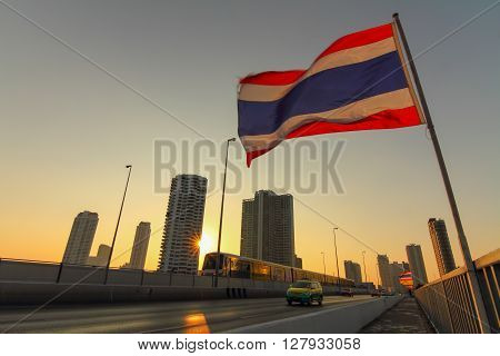 Bangkok,Thailand - December 31, 2014 : Electric train in the Bangkok city in sunset time.