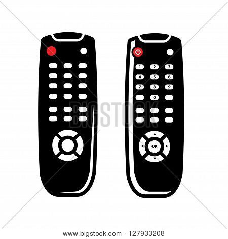 Vector black tv remote control icons set on white background.