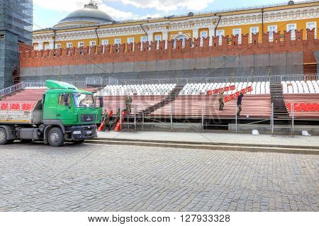 MOSCOW RUSSIA - April 24.2016: Preparing for the parade. Building of the Guest tribunes near the wall of Kremlin