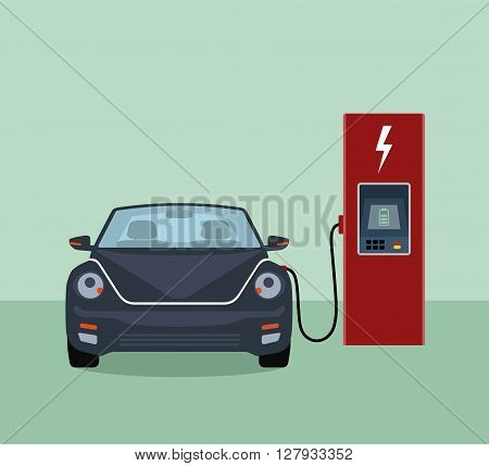 Electric car and electric charging station. Flat vector illustration.