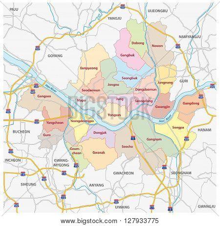 administrative and road map of south korea capital, Seoul