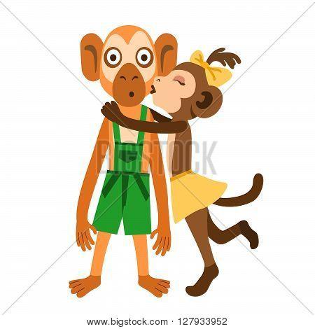 Monkey girl suddenly kissing surprised monkey boy