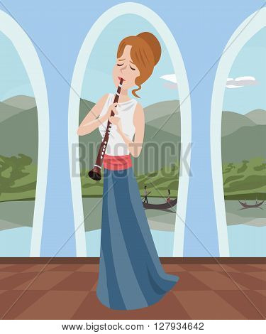 girl playing clarinet at romantic hall - colorful cartoon vector illustration