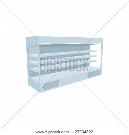 Supermarket refrigerator icon in cartoon style on a white background