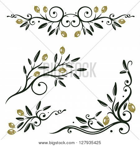 Olive branches with olives and leaves, design elements.