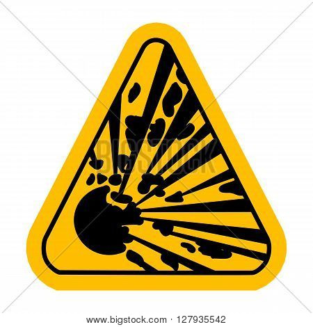 Explosive Hazard Sign.  Illustration on white background for design. Yellow triagnle warning symbol.  Danger vector icon. Warning sheet.