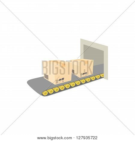 Conveyor belt with boxes icon in cartoon style on a white background