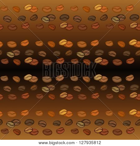 Coffee beans seamless pattern. Abstract brown coffee seeds sketch horizontal texture background. Black coffee design for coffee shop menu, wrapping paper, fabric, cafe interior design vector illustration