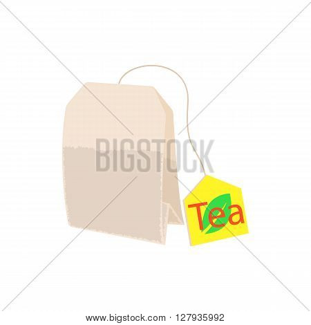 Teabag icon in cartoon style on a white background