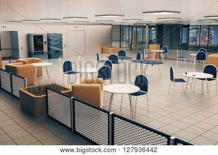 Canteen interior with tile floor square lights on ceiling and night city view. 3D Rendering