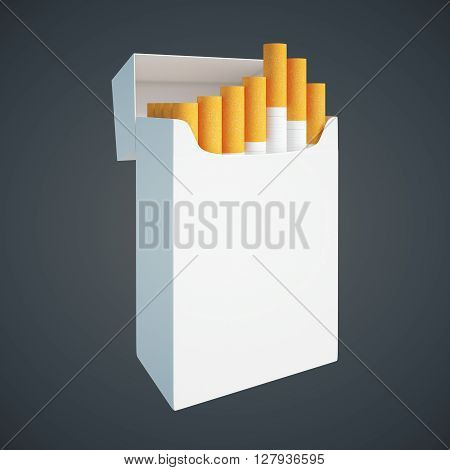 Sideview of open white cigarette pack on dark background. Mock up 3D Rendering