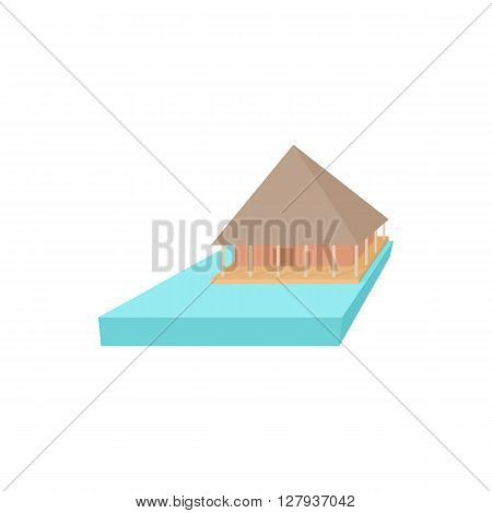 Floating house icon in cartoon style on a white background