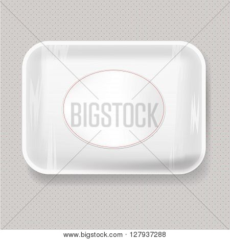 White Empty Blank Styrofoam Plastic Food Tray Container. Mock Up Template package.