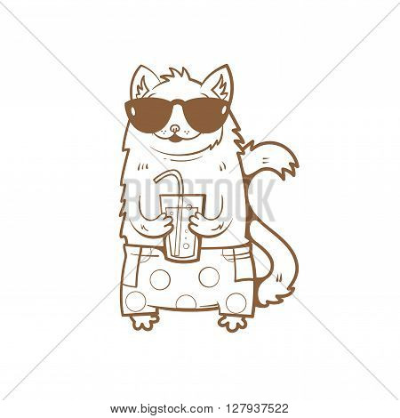 Card with cute cartoon cat in sunglasses and shorts. Cat drinking soda from a glass. Children's illustration. Vector image. Transparent background. Contour image.