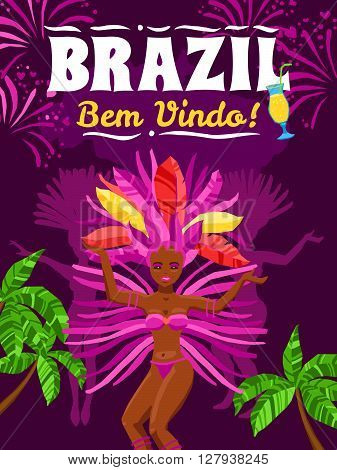Brazil carnival poster with beautiful brazilian girl in exotic costume dancing samba on purple background vector illustration