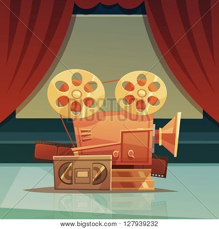 Cinema retro cartoon background with red curtain and tape vector illustration