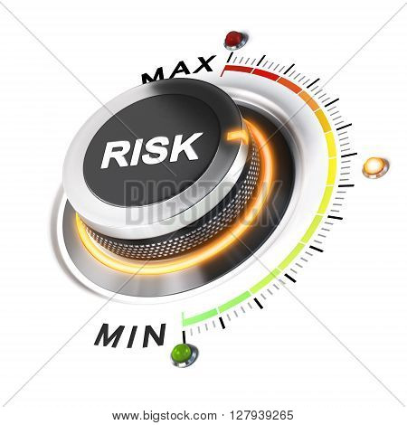 Risk level knob positioned on medium position white background and orange light. 3D illustration concept for business security management.