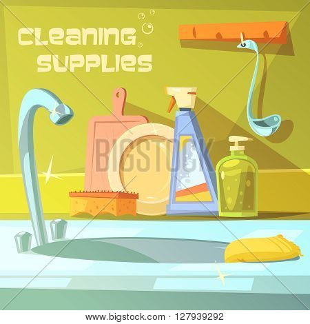 Cleaning supplies cartoon background with soap sink and sponge vector illustration