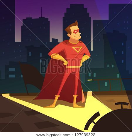 Superman in night city cartoon background with blocks of flats vector illustration