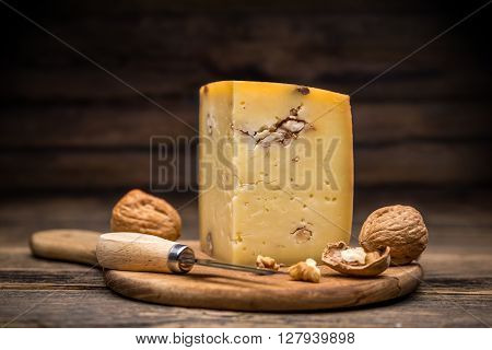 Aging artisan cheese flavoured with walnut, studio shot