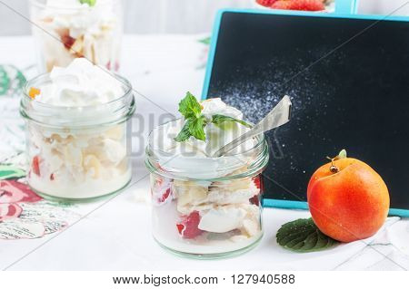 Dessert With Merengue And Berries