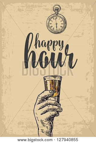 Male hand holding a tequila glass. Vintage vector engraving illustration for label poster menu. Isolated on beige background. Happy hour.
