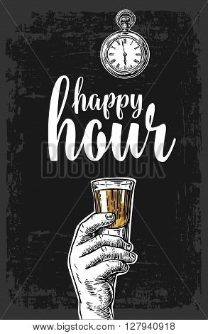 Male hand holding a tequila glass. Vintage vector engraving illustration for label poster menu. Isolated on dark background. Happy hour.