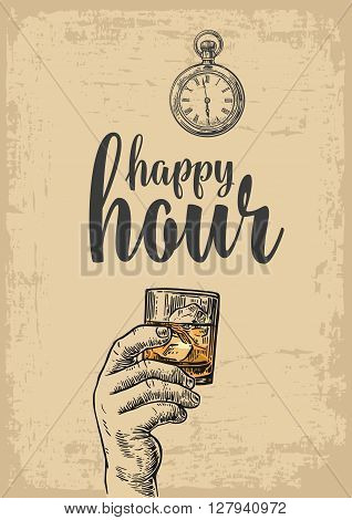 Male hand holding a glass with whiskey and ice cubes. Vintage vector engraving illustration for label poster menu. beige background. Happy hour.
