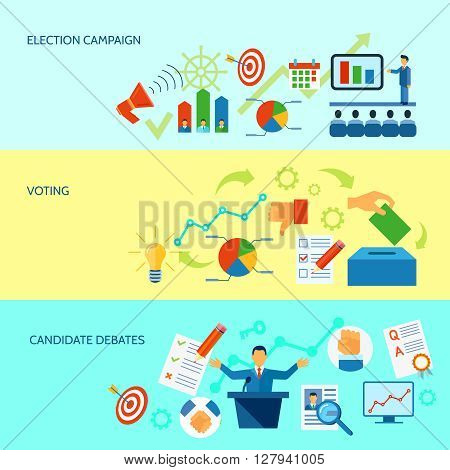 Election campaign debate and voting  process diagramm banner set in yellow and blue background  vector illustration