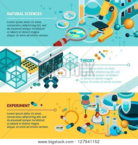 Science isometric horizontal banners set with experiment and theory symbols isolated vector illustration