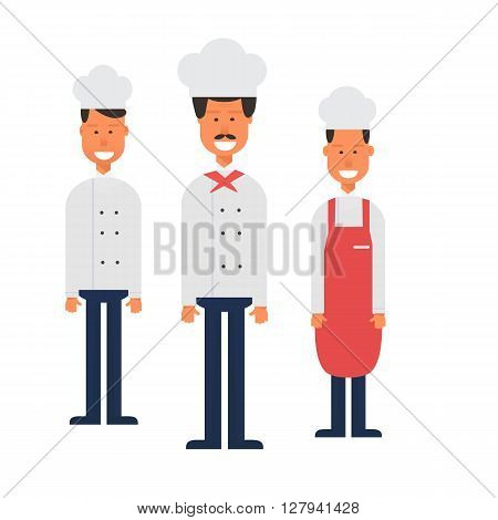 flat design culinary and cuisine professionals in uniform. Smiling restaurant chef with assistants isolated. Catering cuisine staff characters