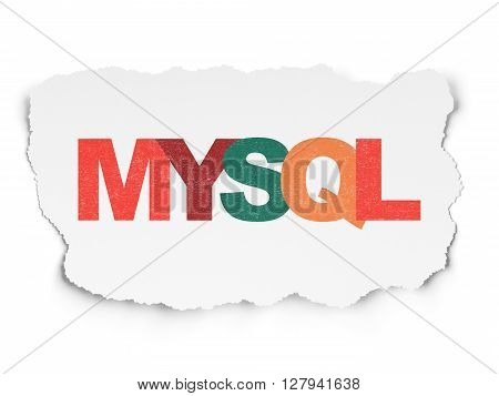 Database concept: Painted multicolor text MySQL on Torn Paper background