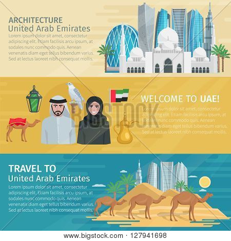 United arab emirates travel banners set with buildings desert and national culture isolated vector illustration
