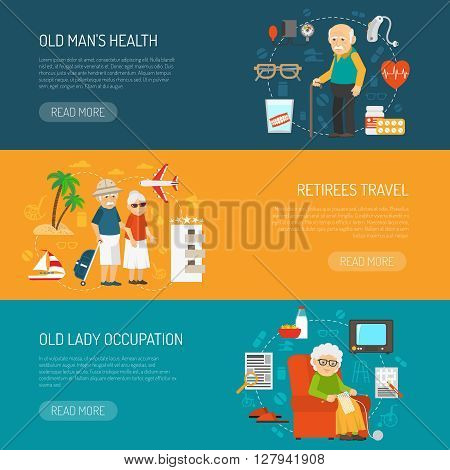 Old people daily life and health issues 3 flat horizontal banners webpage design abstract isolated vector illustration