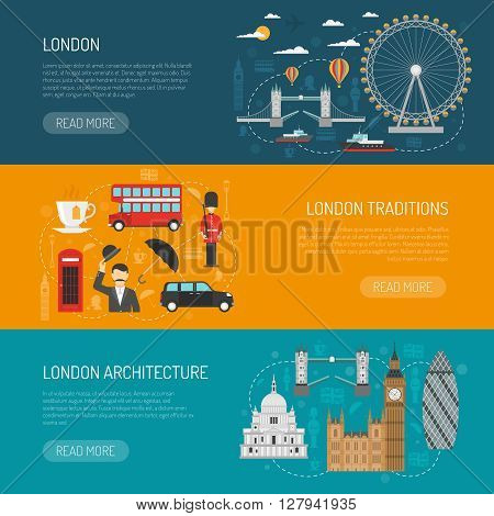 Online information on london architecture and traditions 3 flat horizontal banners set design abstract isolated vector illustration