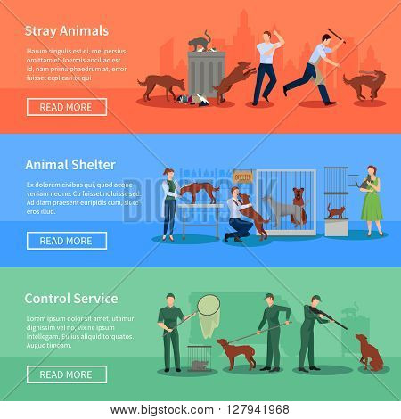 Stray animals problems 3 flat horizontal banners set webpage design with animal shelters abstract isolated vector illustration