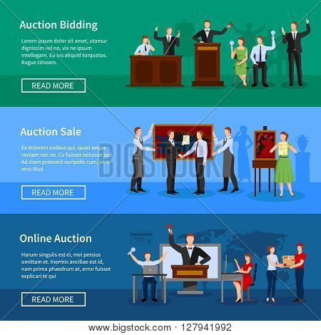 Upcoming online auctions bidding and sale information 3 flat horizontal banners webpage design abstract isolated vector illustration
