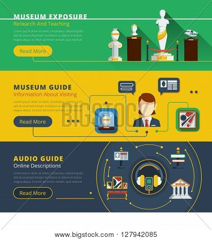 Museum horizontal banner set with examples of exhibit guide service and exhibition organization vector illustration