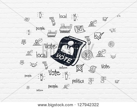Politics concept: Painted black Ballot icon on White Brick wall background with  Hand Drawn Politics Icons
