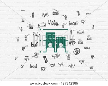 Political concept: Painted green Election icon on White Brick wall background with  Hand Drawn Politics Icons