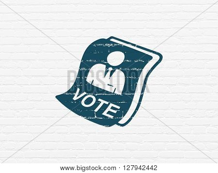 Political concept: Painted blue Ballot icon on White Brick wall background