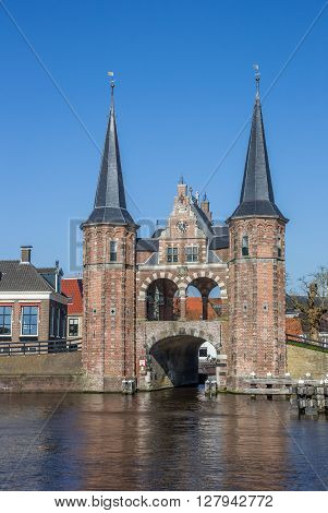 Water gate in the historical city Sneek Netherlands