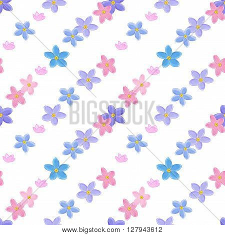 Stylish floral seamless pattern with forget-me-not. Forget me not flowers. Digital paper