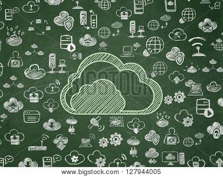 Cloud computing concept: Chalk Green Cloud icon on School board background with  Hand Drawn Cloud Technology Icons, School Board