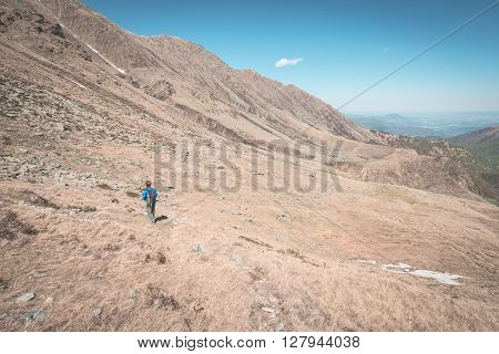Hiking In The Alps On Panoramic Footpath, Toned Image