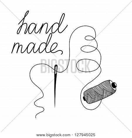 sketch of needle with thread with handmade inscription