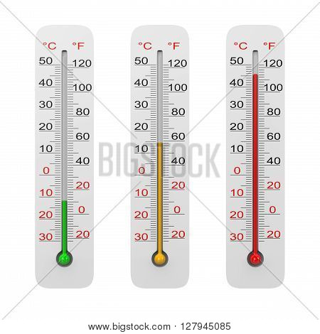 Thermometer Set Isolated on White Background 3D Illustration