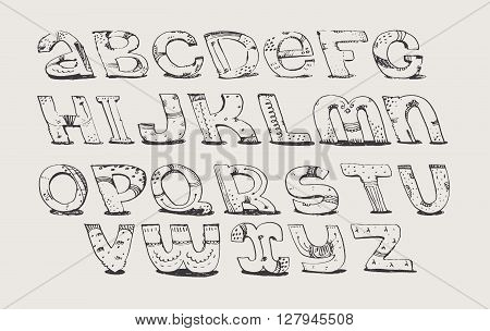 English hand drawn funky font from a to z. Calligraphy made with nib decorated grunge alphabet painted in freehand style. Isolated on light background vector illustration. Letters made in unique style.